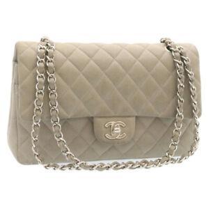 CHANEL Matelasse Double Chain Flap Shoulder Bag Caviar Skin Gray CC Auth 24550