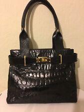 Patterson Handtasche schwarz Krokooptik Leder