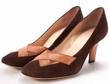 GIVENCHY - Brown Suede Orange Leather Trim Cut Out Slim Heel Pumps 8 38.5