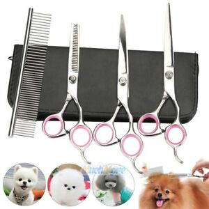 "8""Professional Pet Dog Grooming Scissors Set Straight Curved Thinning Shears Kit"