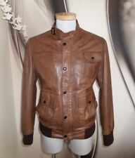 Barbour REAL LEATHER HEAVY WARM WINTER FLYING JACKET COAT TAN BROWN SIZE 44