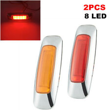 2PCS Truck Trailer RV Side 8 LED Signal Lamp Extension Indicator Brake Light Kit