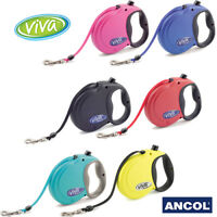 Ancol Viva Retractable Dog Lead Puppy Hi Vis Teal Green Black Red Blue Pink Tape