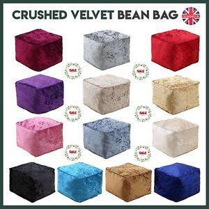 Crush Velvet Bean Bag Cube Foot Rest Stool Pouffe Living Room Ottoman Footstools