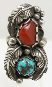 Vintage American Indian Sterling Silver Coral & Turquoise Leaf Figural Pawn Ring