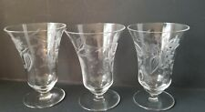 "Vintage Etched 4"" Tall Glasses Set of 3"