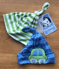 NWT Lot of 2 Pack Gerber Baby Boy Caps Beanie Hat Blue Green Stripe 0-6 months