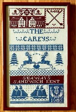 Completed Carey Sampler Sandwich Kent Cross Stitch Framed 20 in x 12.5 in