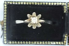 Vintage 9ct white gold Diamond solitaire ring. Size L 1/2.