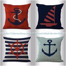US SELLER-4pcs decorative pillow cushion covers nautical anchor sailing boat