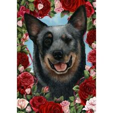 Roses Garden Flag - Blue Australian Cattle Dog 190721