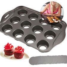 Deluxe 12 Mini Cheesecake Cup Cake Tray Non Stick Muffin Cupcake Baking Tin Pan