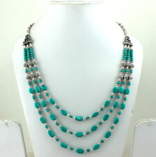 NECKLACE  NATURAL TIBETAN GREEN TURQUOISE GEMSTONE BEADED HANDMADE 50 GRAMS