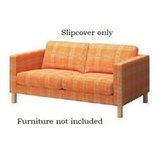 Ikea Karlstad 2 Seat Loveseat Couch Slipcover,cover  Husie Orange Plaid, Cotton