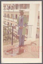 Vintage Photo Black Man in Graduating Cap & Gown w/ Puddle 748194