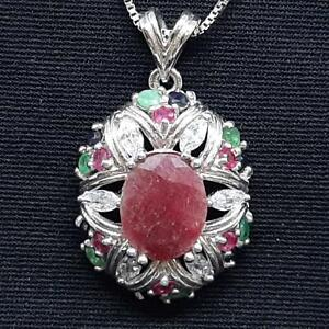 4.30ctw Ruby, Emerald, Sapphire & Diamond Cut White Sapphire 925 Silver Pendant