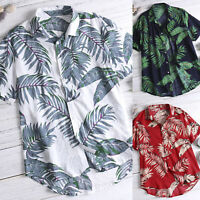 Mens Hawaiian T Shirt Summer Holiday Floral Print Beach Short Sleeve Tops Blouse