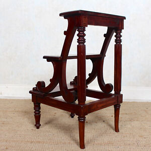 Mahogany Library Steps Carved 3 Tier Antique Vintage Solid