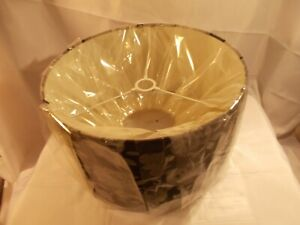"""13"""" BLACK WITH SILVER FLOWERS Fabric Drum Lampshade Light Shade"""