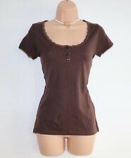 Women's Vintage EDEIS Short Sleeve Brown Jersey 100% Cotton T-Shirt Top UK8 UK10