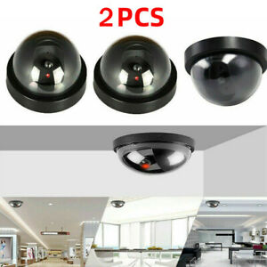 2 PCS Fake Dummy Security Camera Indoor Outdoor LED Lighting CCTV Surveillance