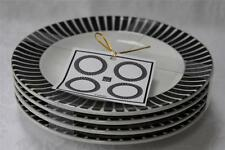 222 Fifth Callisto Black & White Round Appetizer Dessert Plates - Set of 4