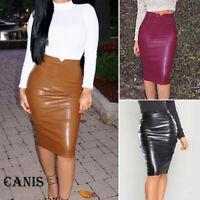 Womens Club High Waist Bodycon Pu Leather Stretch Business OL Pencil Midi Skirt
