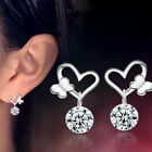 1 Pair Fashion Women Lady Elegant Heart Crystal Rhinestone Ear Stud Earrings