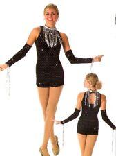 Shimmy Dance Tap Costume Biketard NO Mitts Hologram Sequin Fringe Child X-Small