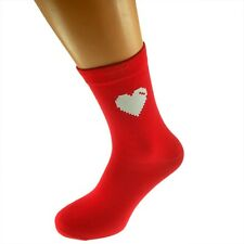Heart Monitor Design Valentines Red Ladies UK Size 4-8 Socks - X6N318