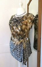 "WALLIS BLACK TAUPE GOLD EVENING TOP SIZE LARGE PETITE BUST 42"" BRAND NEW"