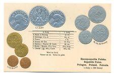 Poland Polish Coins on German Ad Postcard ca 1926 RARE Mint Condition