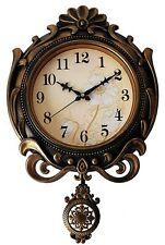 Quartz Wooden Finish Pendulum Analog Wall Clock Antique Design For Home Décor