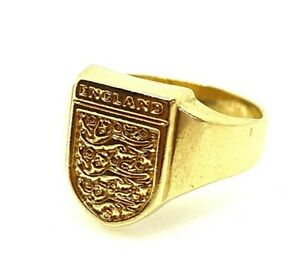 Gold England Ring 9ct Yellow Gold THREE LIONS Signet Ring Solid Gold Football