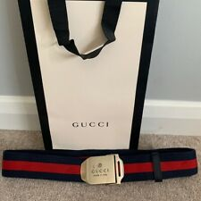 Mens Gucci Web Palladium Belt