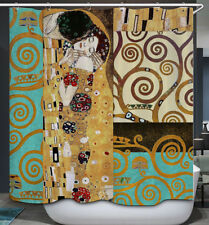 Asian Art Fabric Shower Curtain 70x70 Geisha Swirl Design Oriental Gold Teal