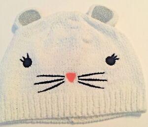 Gymboree Baby Girl 12-24M Beanie Hat White Kitty NEW