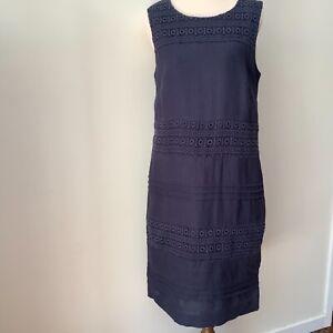 W.Lane women's shift dress size 10 blue 100% linen sleeveless lace inserts lined