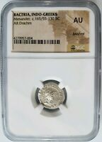 Menander Bactria Indo Greeks BC AR Drachm NGC AU Greece Silver Ancient Coin