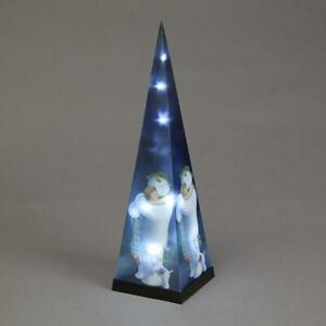 Battery Operated Laser Pyramid with The Snowman And The Snowdog Christmas Decor