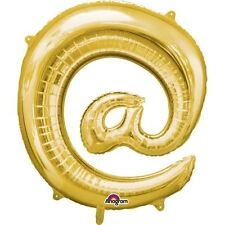 "Symbol @ Gold Foil Balloon 16"" 40cm Air Fill Age Name Birthday Anniversary"