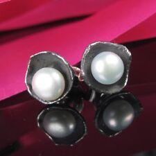 BLACK PERLE Silber 925  Designer Ohrringe Stecker Damen Handarbeit mit Stein