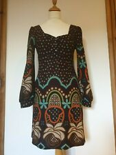 Kuch Brown 60s 70s Style Spot Floral Pattern Dress, Buttons, Size M app 8/10