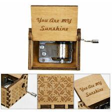 My Sunshine Engraved Hand Crank Wooden Music Box Ornament Kids Toy Decor Charm