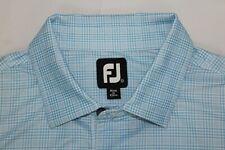 Fj Footjoy Men's Xl Poly-Spandex Blue & White Checks Cottonwood Polo Golf Shirt