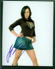 JENNIFER TILLY SIGNED 8X10 SEXY PINUP PHOTO IN DENIM MINI SKIRT