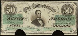1862 $50 DOLLAR CONFEDERATE STATES CURRENCY CIVIL WAR NOTE OLD PAPER MONEY T-50