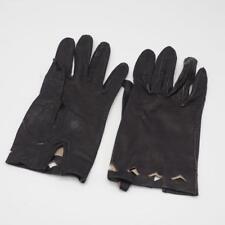 Vintage Womens Leather Gloves Black Size 6-1/4