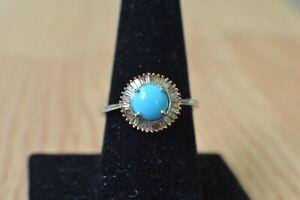 1.40ct AZ Sleeping Beauty Turquoise /Diamond Ring Platinum over Fine Silver Sz 9