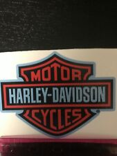 Harley Davidson Logo Decal. 4 1/2  By 5 1/2 Inches. Black Orange And Light Blue!